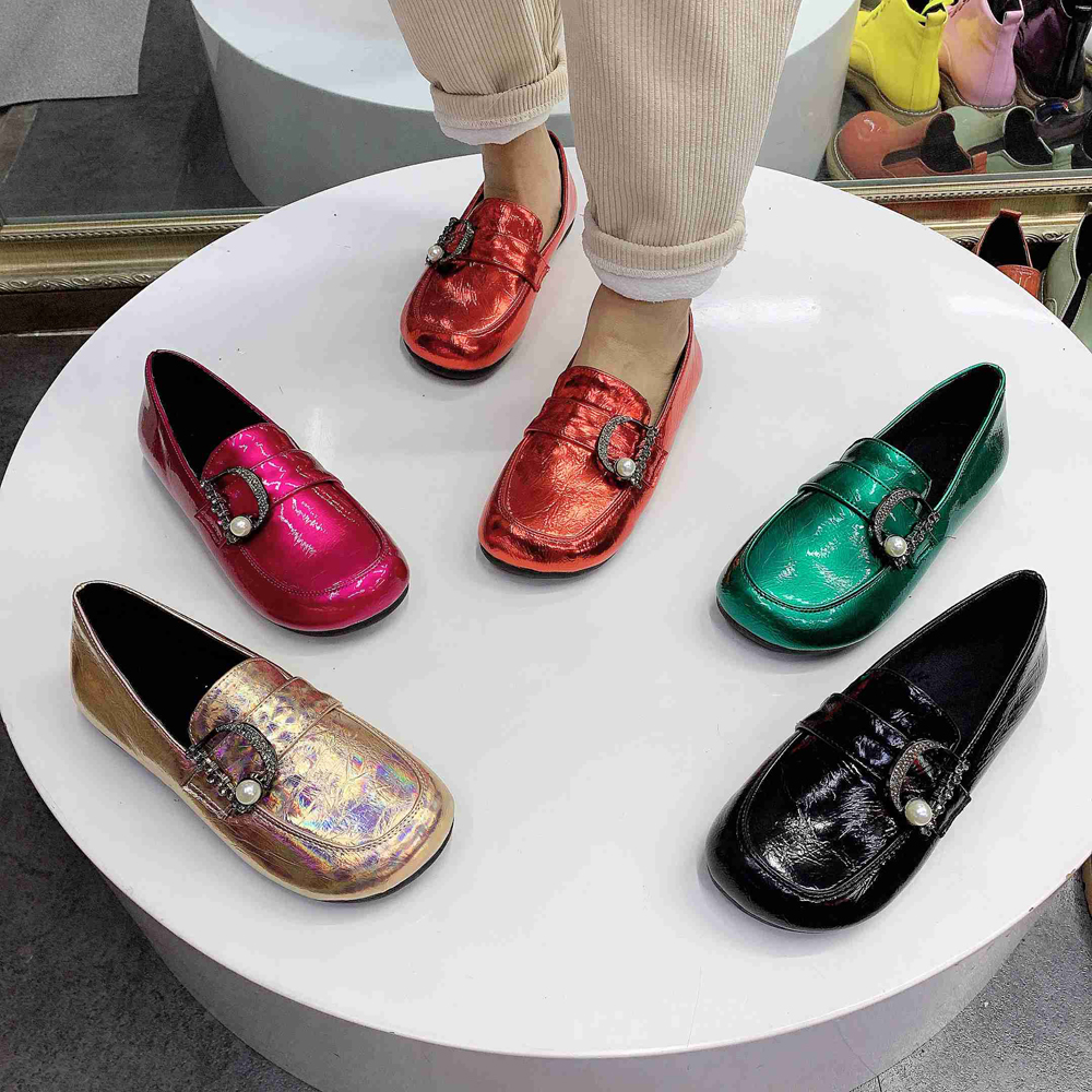 Women Shoes Patent Leather  Shoes Slip On Ladies Shoes Fashion Design Luxury Loafers Buckle Flat Shoes