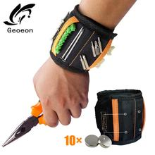 magnetic bracelet tool Magnetic Wristband Portable Tool Bag Electrician Wrist Tool for Holding Screws Nails Drill Bits A35 strong magnetic wristband bracelet portable tool bag for holding screws nails drill bits tool wrist belt magnetic wristband