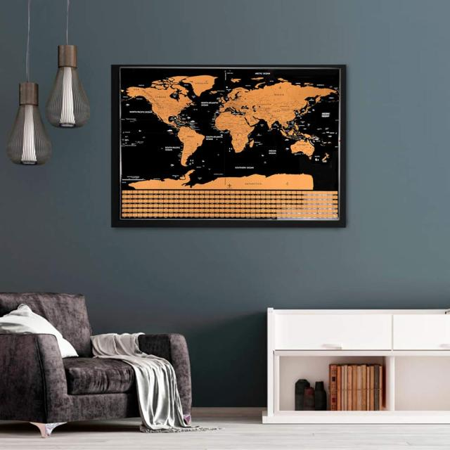 Large Size Scratch Off World Travel Map Premium Personalized Wall Sticker Poster Globe All Country Flags
