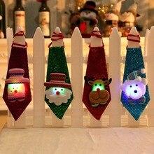 1 шт., Рождественский галстук с блестками, Санта-Клаус, снеговик, олень, медведь, Рождественское украшение для дома, Рождественские декоративные детские игрушки, украшения
