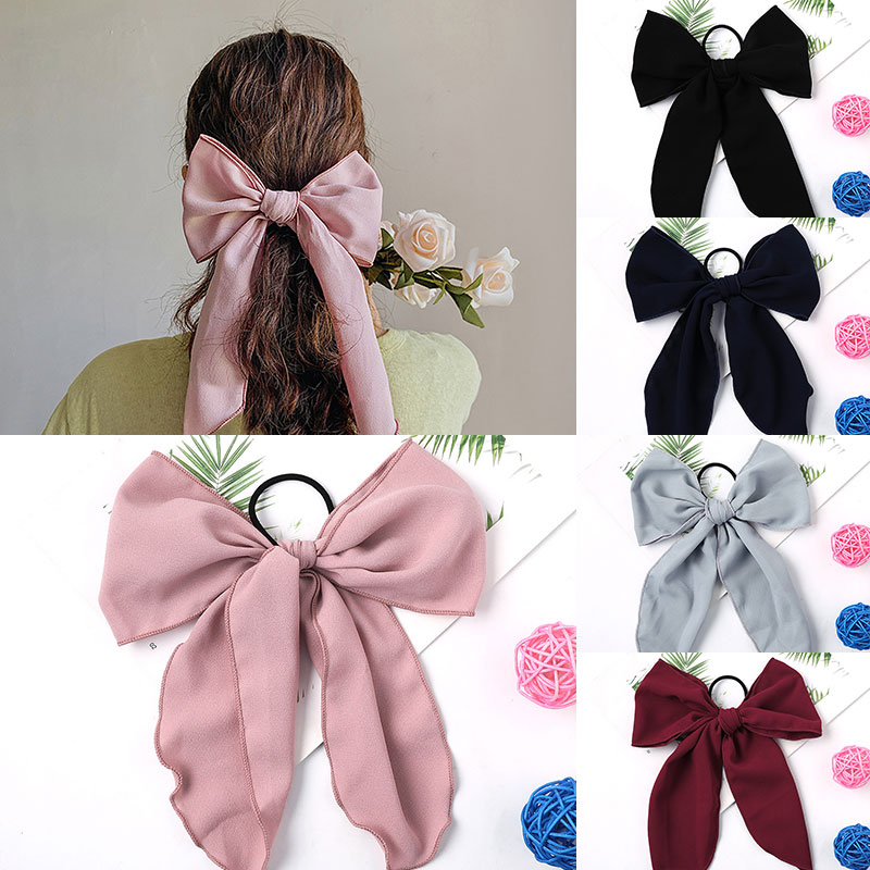 Elastic Hair Bands Ribbon Bows Hair Rope Women Girls Ponytail Holder Headwear