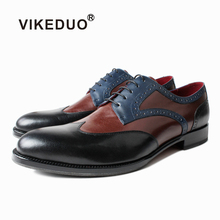 Vikeduo 2019 new autumn and winter mens leather kangaroo shoes bronze green wedding dress office