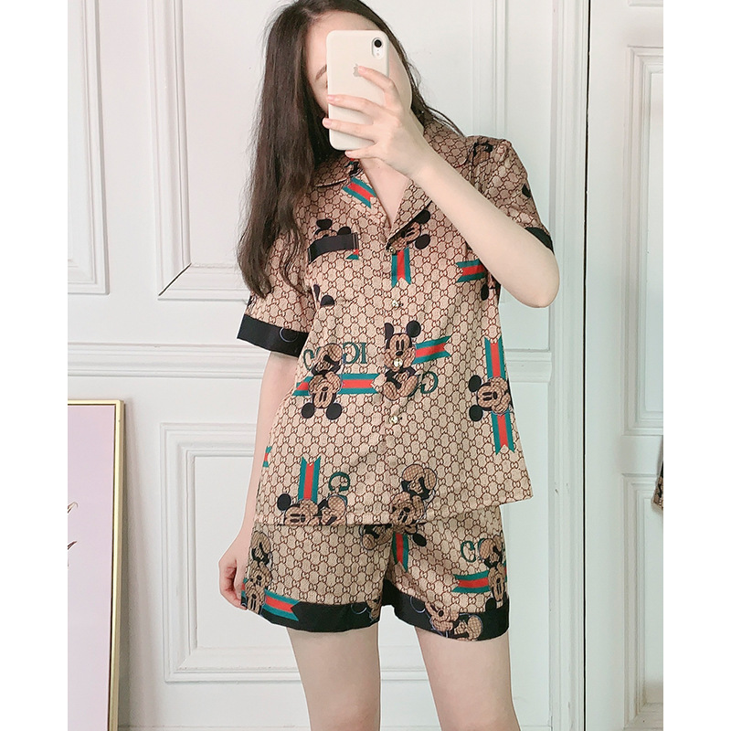 Dark color Pajamas women summer cartoon silk short sleeved shorts pants two piece suit casual home wear clothes|Pajama Sets| - AliExpress