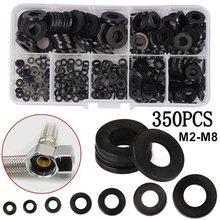 350 шт., 7 размеров, черное изоляционное кольцо, нейлоновая плоская шайба, стандартный комплект M2 M2.5 M3 M4 M5 M6 M8, товары для дома