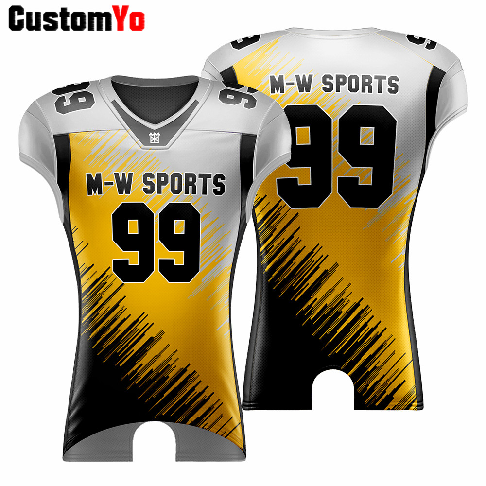 Customized V-neck Blank Football Uniforms Adult Youth Shirt Different Sizes Breathable Sports American Football Jerseys image