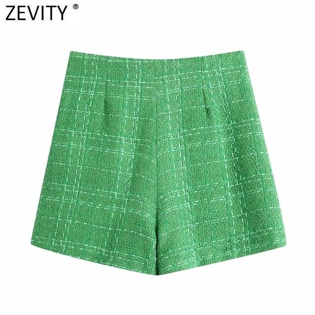 Zevity New Women Fashion Green Color Tweed Woolen Bermuda Shorts Skirts Lady Side Zipper Chic Casual Slim Pantalone Cortos P1024 2