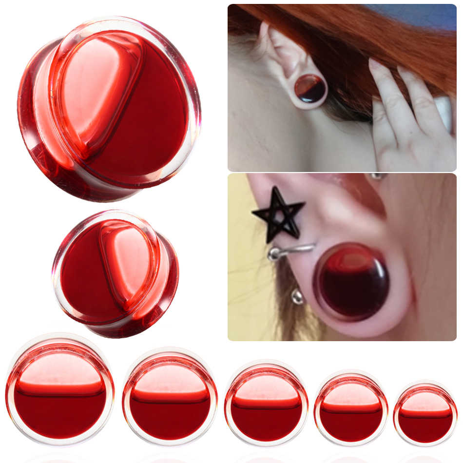 4mm - Dyed Red Double Flared Stone Plugs Earring Plugs Red Double Flared Glass Earring 1 or 2 Red 6 Gauge