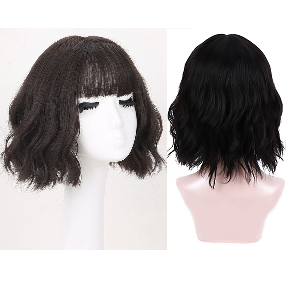 MANWEI Short Natural Wave Hair Synthetic Wigs With Neat Bangs For Women Pink Beige Brown 3 Colors For Choose