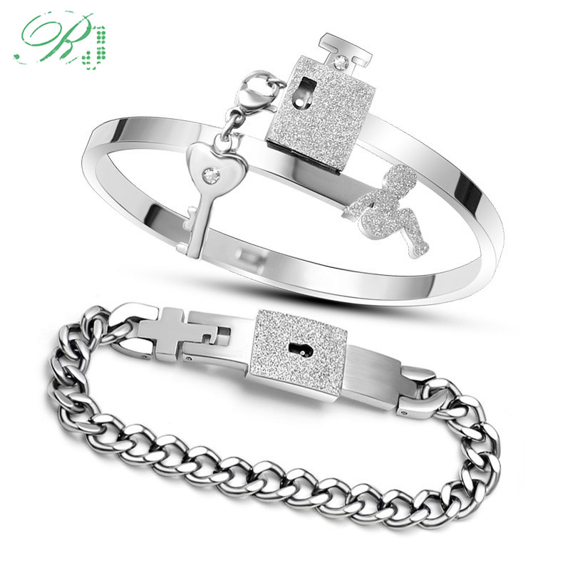 RJ Dropshipping A Set Couple Lover Jewelry Stainless Steel Frosted Love Heart Lock Bracelets Bangles Key Pendant Necklace Gift