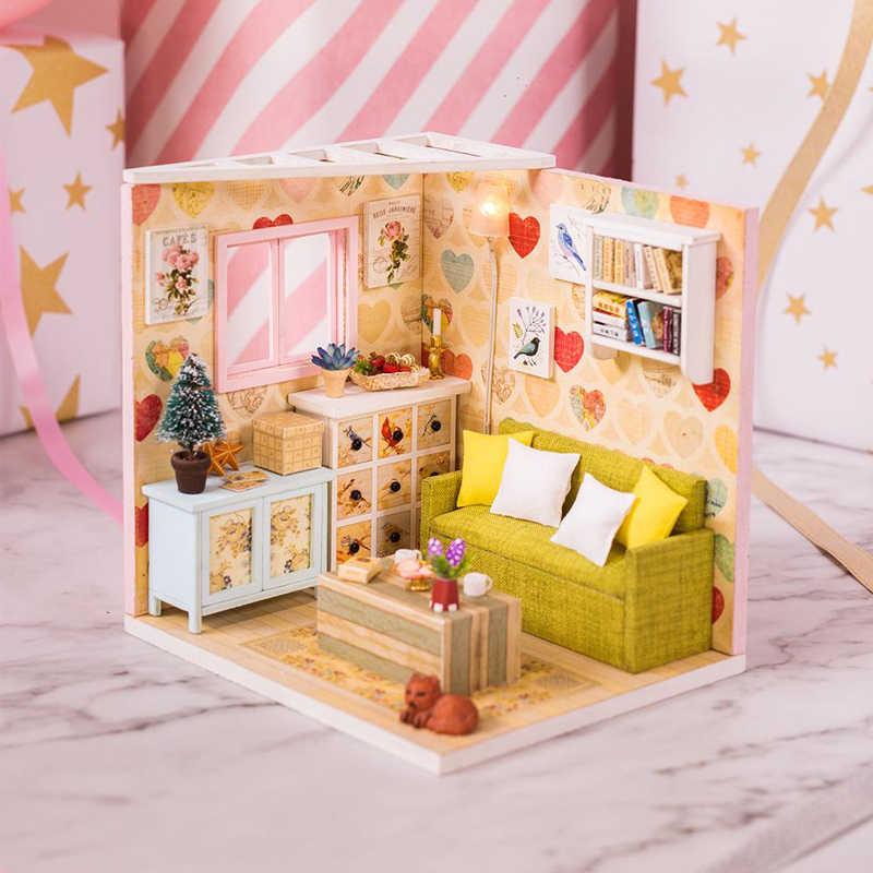 Миниатюрный Кукольный домик, набор, сделай сам, кукольный домик, мебель ручной работы, игрушка для девочки, домик для детей, на день рождения, рождественские подарки