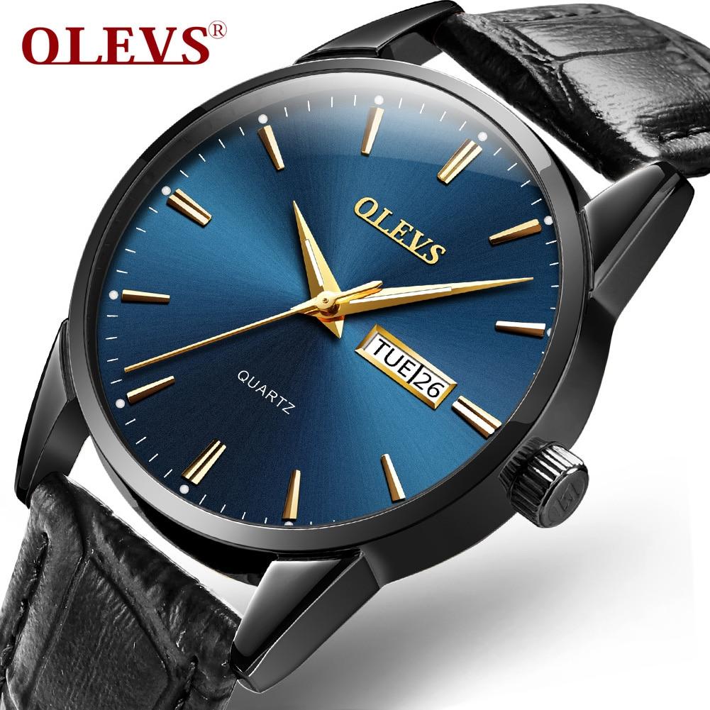 Couple watch leather quartz movement waterproof luminous gentleman elegant lover watches Comfortable Men women clock OLEVS 6898