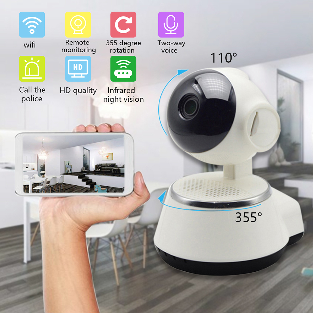 Casa inteligente Câmera De Vídeo 720P HD WiFi APP Controle Sem Fio IR Night Vision Filmadora Para O Bebê Mais Velho Monitor de Segurança cabeça berço