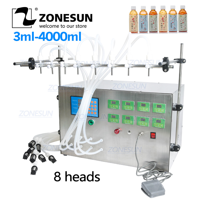 ZONESUN 8 Head Electric Digital Control Pump Liquid Filling Machine 0.5-4000ml For Liquid Perfume Water Juice Essential Oil
