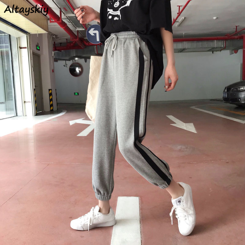 Pants Women Leisure Striped All-match Korean Style Ankle-Length Trousers Loose Students Drawstring Trendy Harajuku High Quality
