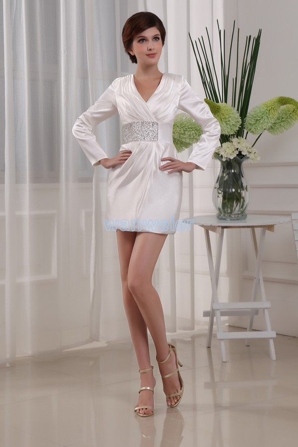 Free Shipping 2014 Vestidos Formals Brides Maid Dresses Short Dress White Long Sleeve Beading Mother Of The Bride Dresses