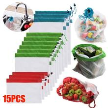 15pcs Reusable Mesh Produce Bags Washable for Grocery Shopping Storage Fruit Vegetable Toys Sundries Organizer Bag