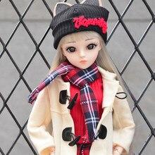 Ucanaan bjd boneca 60cm 1/3 moda meninas sd bonecas 18 bola articulada boneca com roupas conjunto sapatos peruca maquiagem crianças brinquedos
