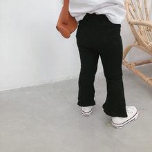 Vidmid bebê meninas cor sólida bell-bottomed calças crianças algodão casual flare d calças roupas meninas flare calças 4134 01