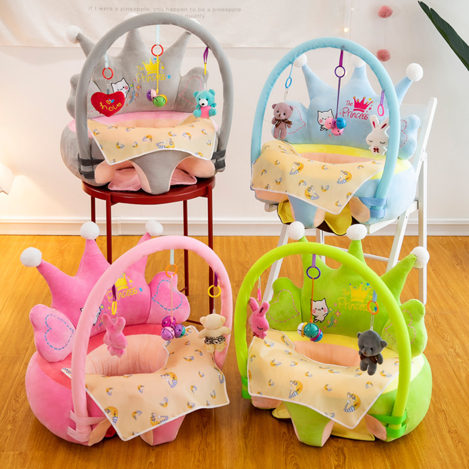 Washable Toddlers Learning To Sit 0-3Y Baby Sofa Support Seat Cover Plush Chair Baby Sofa Support Seat Cover