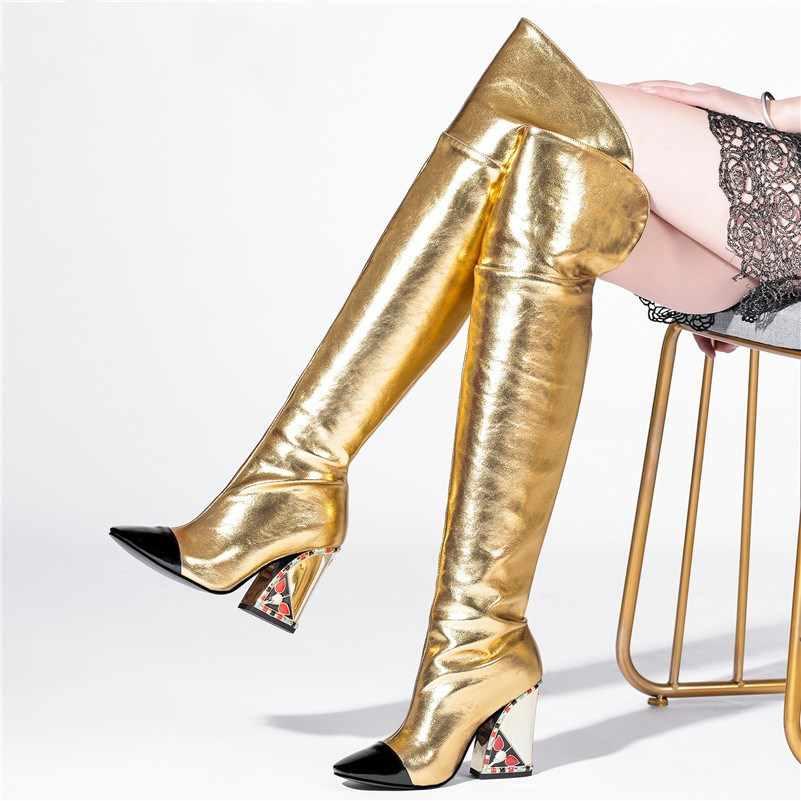 Prova Perfetto 2020 yeni diz çizmeler üzerinde kadın hakiki deri çizmeler kare ayak kayma kalın yüksek topuklu sonbahar kışlık botlar