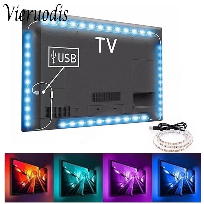5V Светодиодные ленты светильник ТВ Подсветка светильник USB 2835 SMD HD ТВ м, 1 м, 2 м, 3 м, 5 м лента лампа диод Гибкая стойка для ПК Экран RGB домашний д...