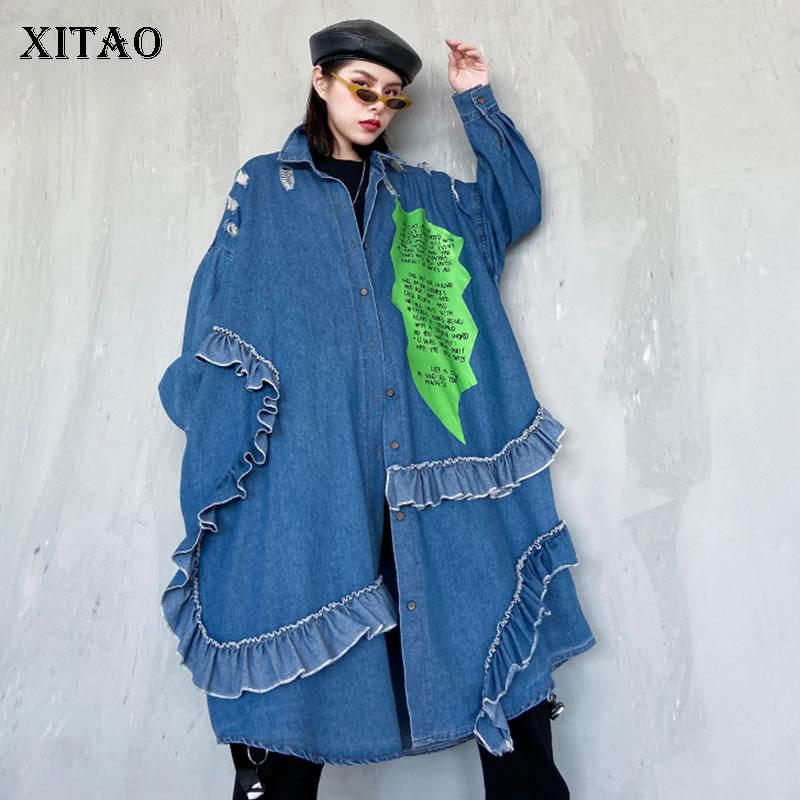 XITAO Hole Women Coat Plus Size Elegant Single Breast 2020 Spring Elegant Patchwork Ruffle Loose Print Casual Coat XJ3868