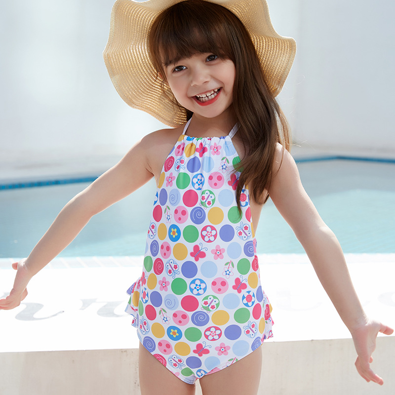 2019 One-piece GIRL'S Swimsuit Hipster Camisole Cartoon Dyed Sweet Cute Medium-small Girls Hot Springs Swimwear
