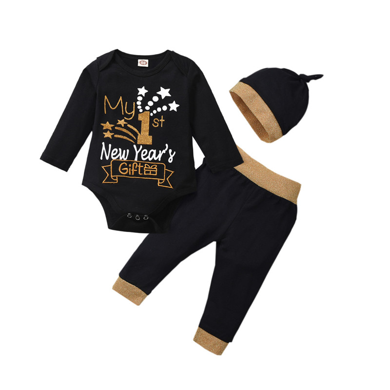 1 Set Baby Christmas Clothes Baby Outfits Newborn Clothing My First New Year Long Sleeve Romper Pants Hat Headband