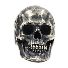 925 Sterling Silver High Detail Skull Ring Mens Biker Punk Ring US Size 7~15 925 sterling silver king kong ring mens biker punk ape king ring us size 7 5 10