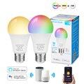 Умная Светодиодная лампа E27 12 Вт с Wi-Fi, приглушаемая цветная лампа RGB с холодным белым, теплым белым светом, с голосовым управлением, работает ...