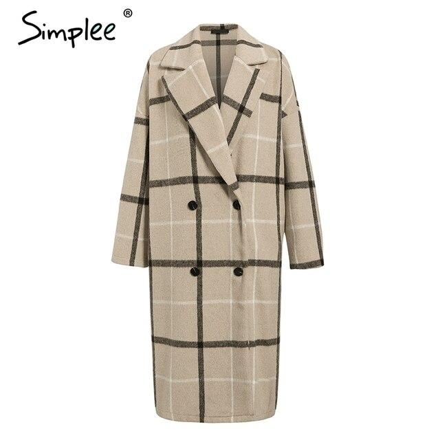 Simplee Elegant plaid women tweed coat Buttons pockets autumn winter female blend coats V neck office ladies warm long overcoats 8