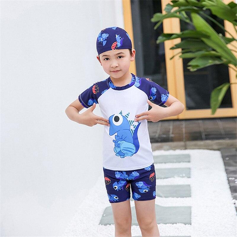3pcs Kids Boy Swimsuit Cartoon Fish Beach Bodysuit With Cap Boys Swimwear 2-12Y Children Bathing Suit Beachwear Surfing Wear