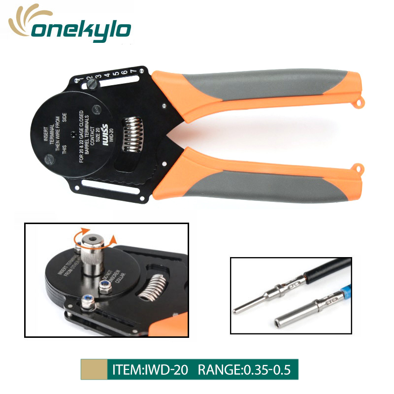 IWD-20 Solid Aviation terminal crimping pliers tools 0.35-0.5mm 20-22AWGHand Tools Crimping for Harley Deutsch Harting