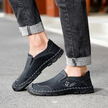 Classic Men Casual Shoes Men Loafers Comfortable Leather Shoes Men Flats Handmade Hot Sale Moccasins Shoes Big Size 38-46