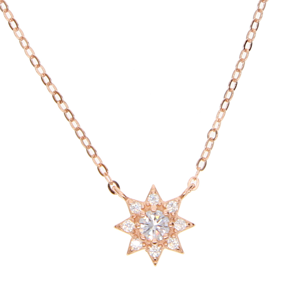 new year 3colors necklace for women jewelry real 925 sterling silver cz star charm pendant delicate dainty necklace