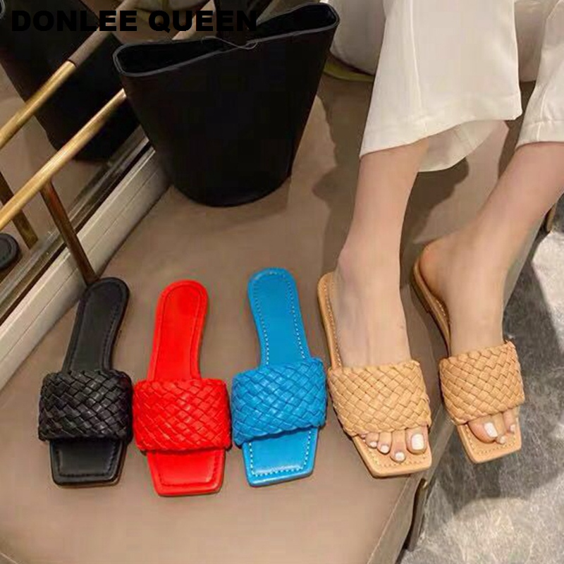 2020 New Brand Square Toe Flat Slippers Women Fashion Weave Slides Casual Beach Flip Flops Candy Color Sandals Comfortable Shoes