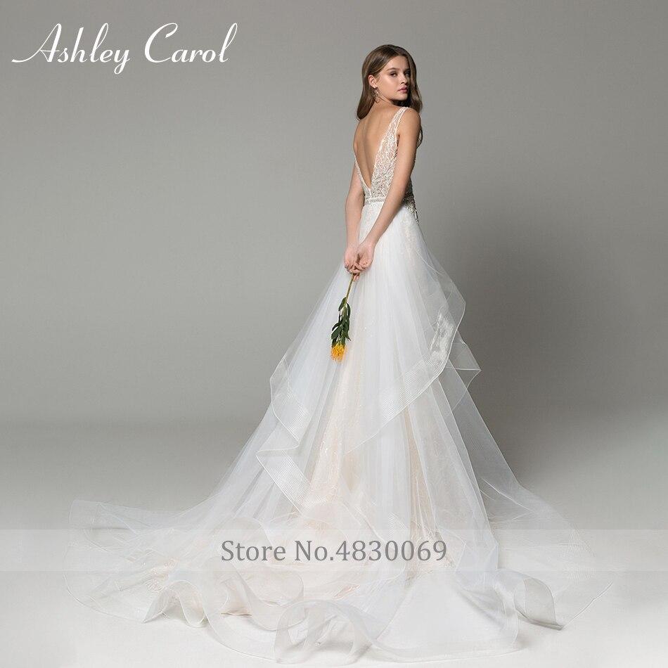 Image 2 - Ashley Carol Sexy V neckline Lace Mermaid Wedding Dresses 2020 Luxury Beaded Detachable Train Bride Dress Romantic Wedding GownsWedding Dresses   -