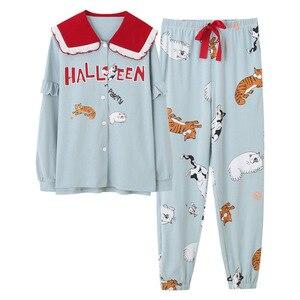 Image 2 - セクシーなパジャマセットの女性のパジャマ綿春冬長袖ホームウェアpijamasパジャマ女性ソフトかわいいブルーナイトウェア