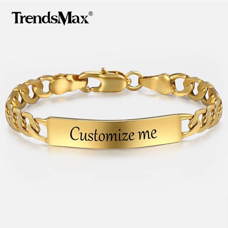 Baby der Angepasst Armband Gold Gefüllt Figaro Kette Glatte Bangle Link Armband Für Kind Junge Mädchen Personalisieren Name Geschenk KGBM100