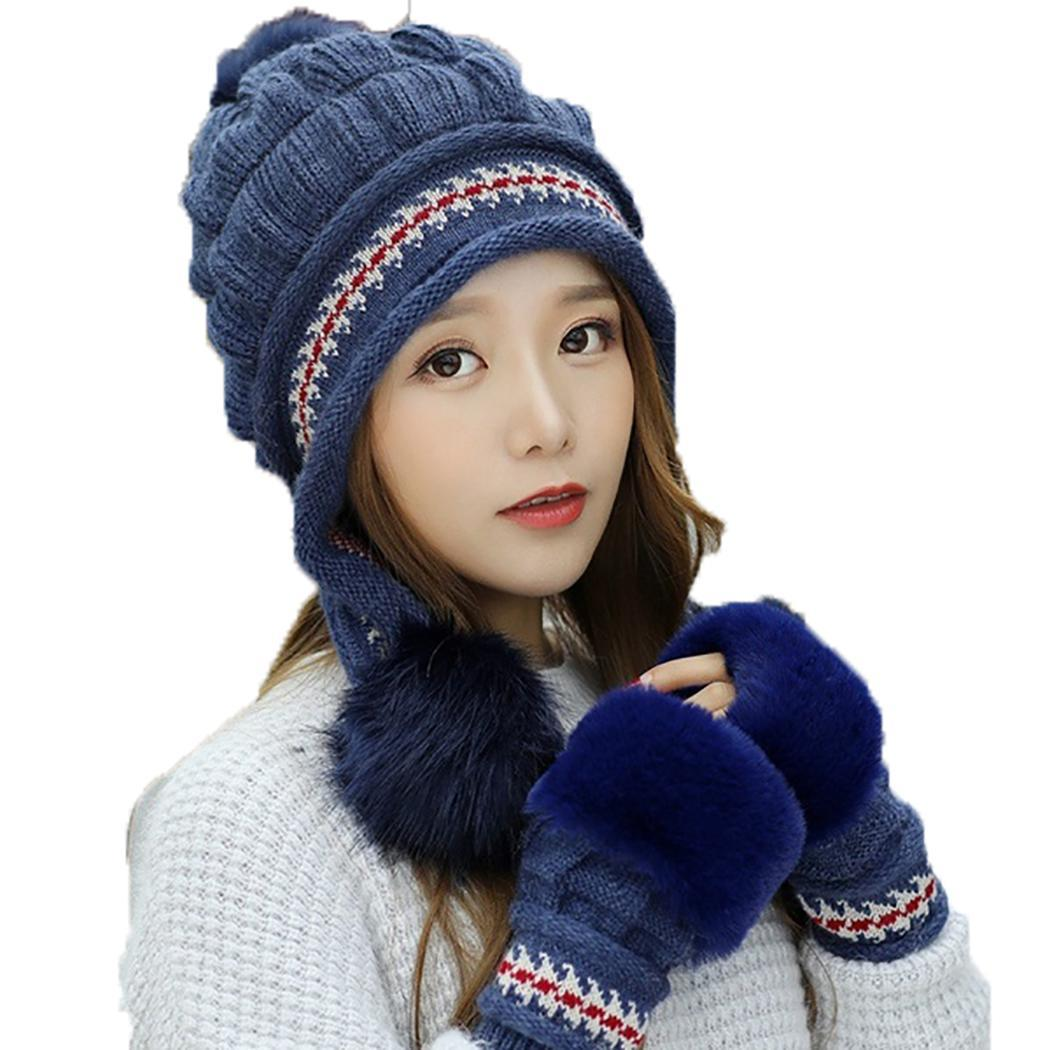 Unisex Fashion Solid Soft Winter Warm Hairball Beanie Hat Keep Two-piece Outdoor Half-Finger Gloves Set