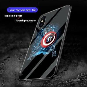 Image 5 - Ciciber Marvel Leuchtenden Glas Fall für iPhone 11 fall 7 8 6 6S Plus shell Abdeckung für iPhone 11 pro Max XR X XS Max Coque Eisen Mann