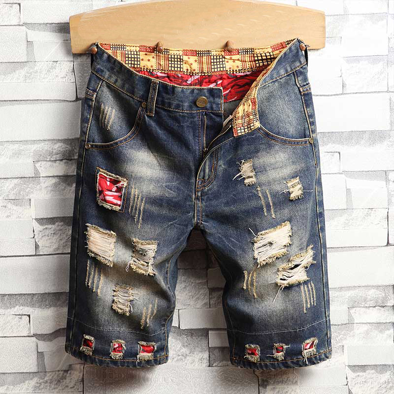 Brand Jeans Short Men Ripped Mens Clothing Bermuda Cotton Shorts Breathable Denim Shorts Fashion Size 28-40 New
