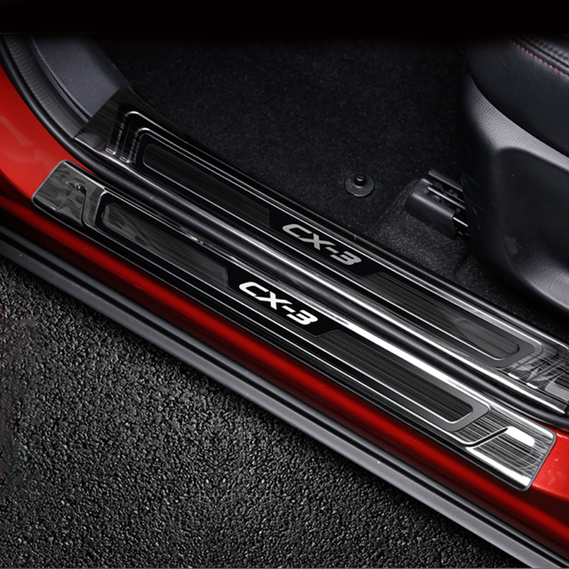 For <font><b>Mazda</b></font> <font><b>CX3</b></font> CX-3 <font><b>2016</b></font> 2017 2018 Stainless Steel Scuff Plate Door Sill Welcome Pedal Protector Stickers Car Styling Accessories image
