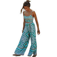 Women Two Piece Set Boho Chic Outfits Off Shoulder Sleeveless Tops Bohemian Sexy Vintage Drawstring Wide-leg Pants Vintage Sets