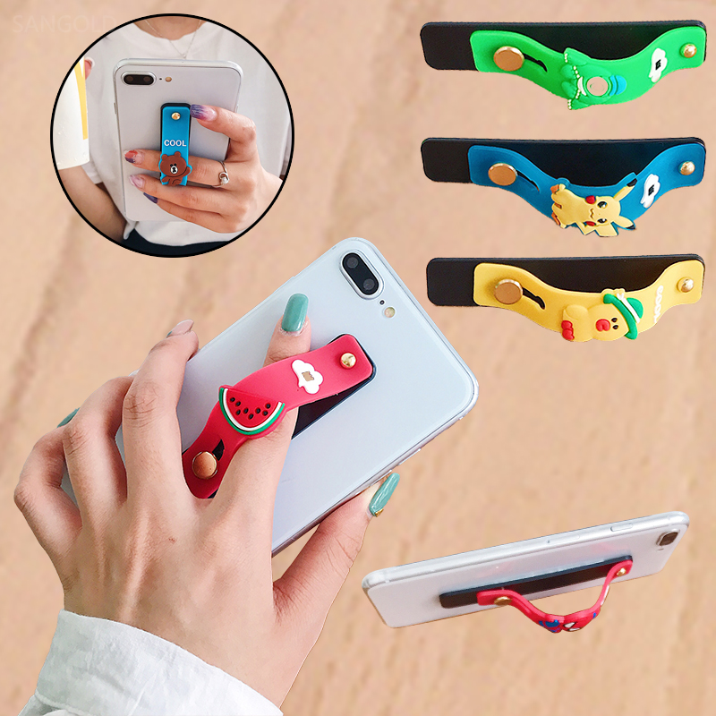 Cute Anime Cartoon Phone Holder Push Pull Finger Stand Grip Ring Wrist Band Strap Mobile Universal Cellphone Bracket For Iphone