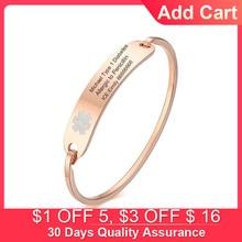 Free Personalized ICE Medical Alert Emergency Reminder Bracelet for Women Men DIABETES EPILEPSY