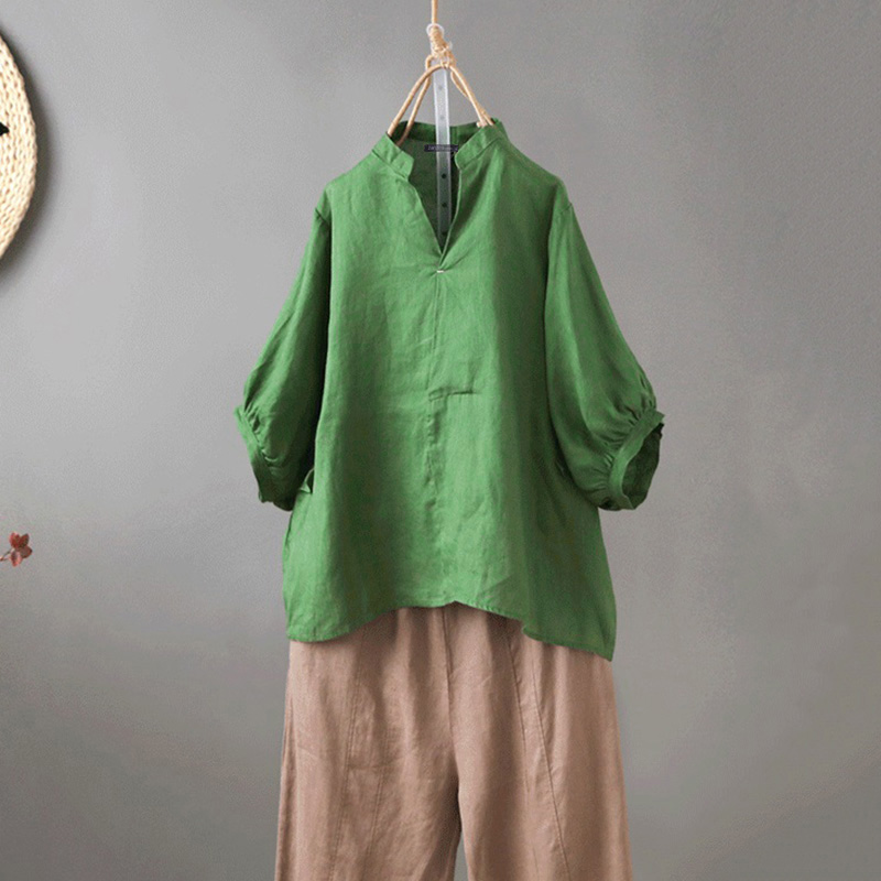 ZANZEA 2020 Summer Autumn Women Blouses V Neck Tunic Tops Vintage Work Shirts Casual 3/4 Puff Sleeve Cotton Blusas Plus Size