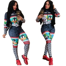 2019 Autumn Letter Cartoon Striped Printed Bandage Rompers Womens Jumpsuit Zipper Front Bodycon Bodysuit Sexy Leotard Catsuit