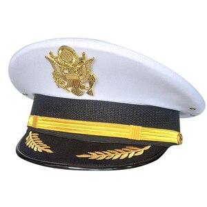 Белая кепка, мужская Кепка с моряком, армейская Военная Экипировка, мужские аксессуары, значок с орлом для сцены, шляпа с широкими полями, ко...