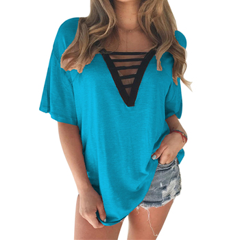 rendy T-Shirt V-neck Women T Shirt Summer Style Short Sleeve Tops Hollow Out Top tee tshirt V Neck F